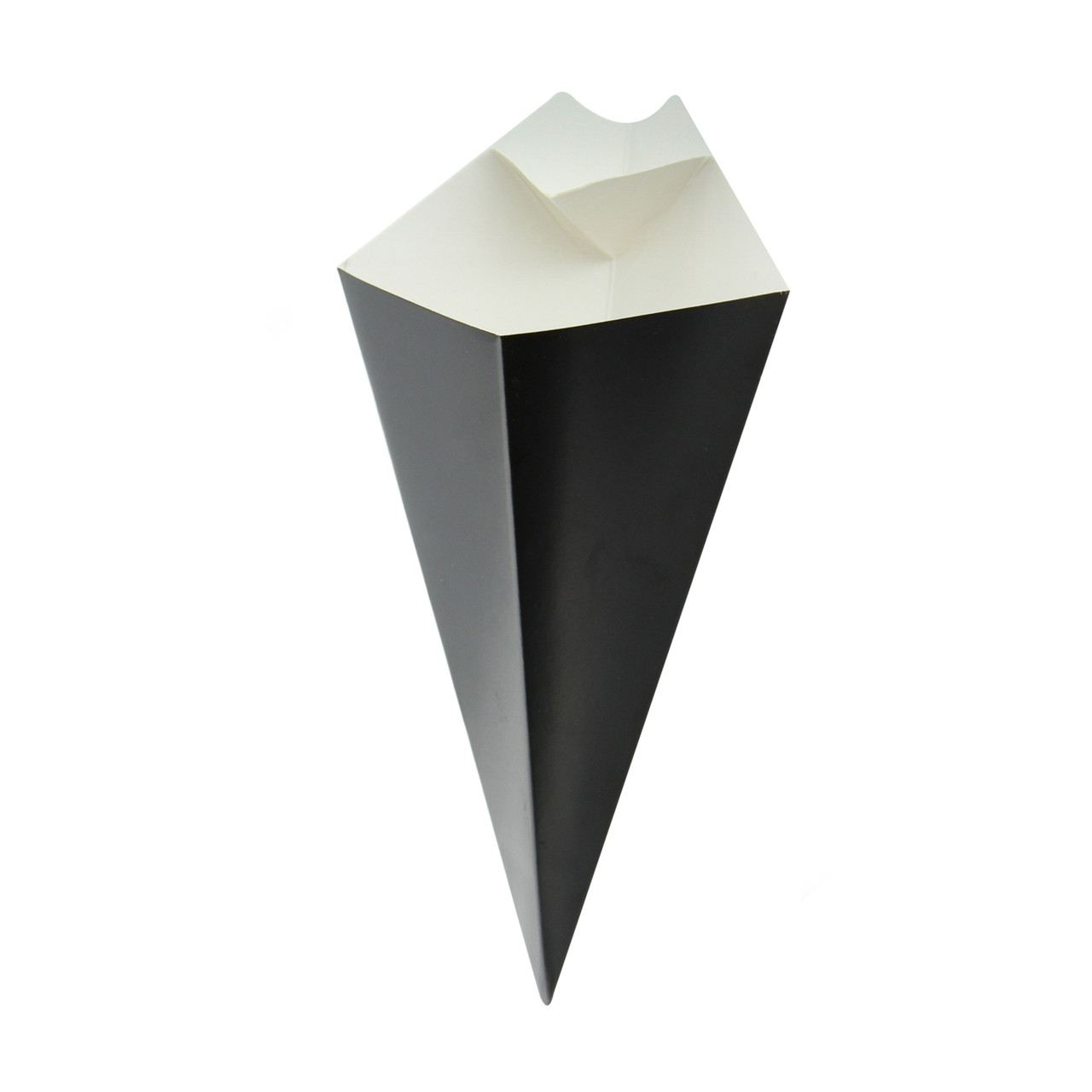 Black Paper Cones With Built In Dipping Sauce Compartment -8oz L:8.94 in