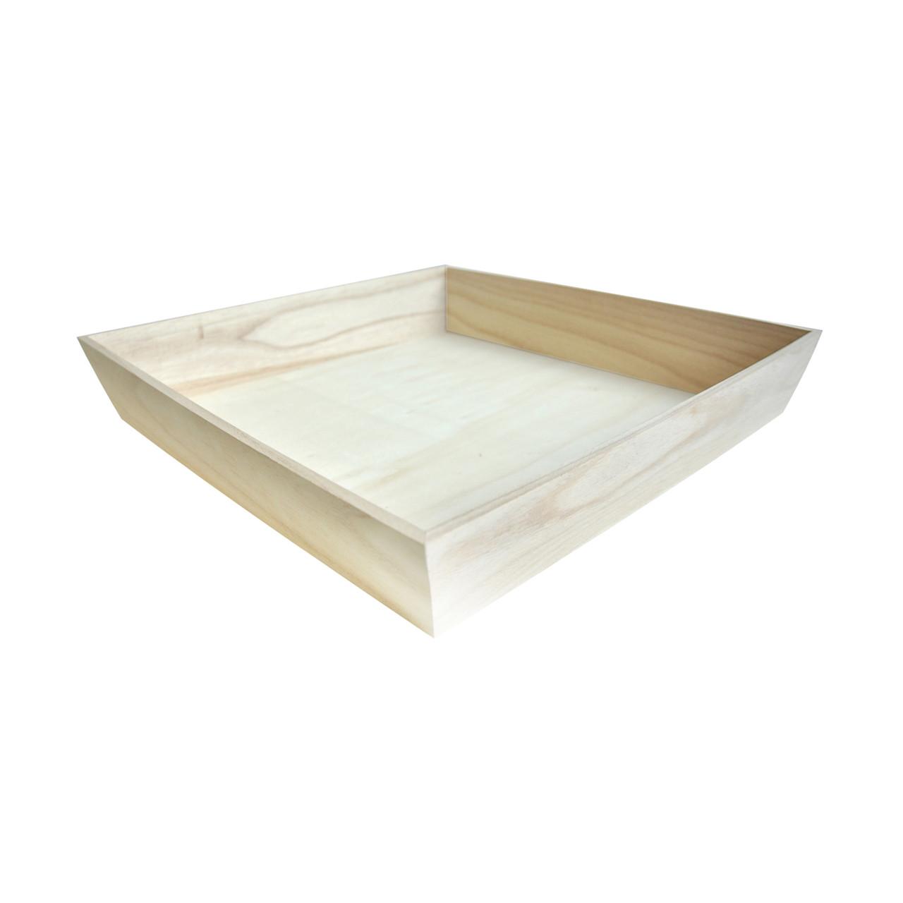 NOAH4040H Heavy Duty Wooden Tray - L:15.9 x W:15.9 x H:2.8in