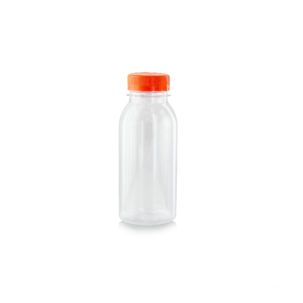 Round Pet Bottle With Orange Cap -7.8oz