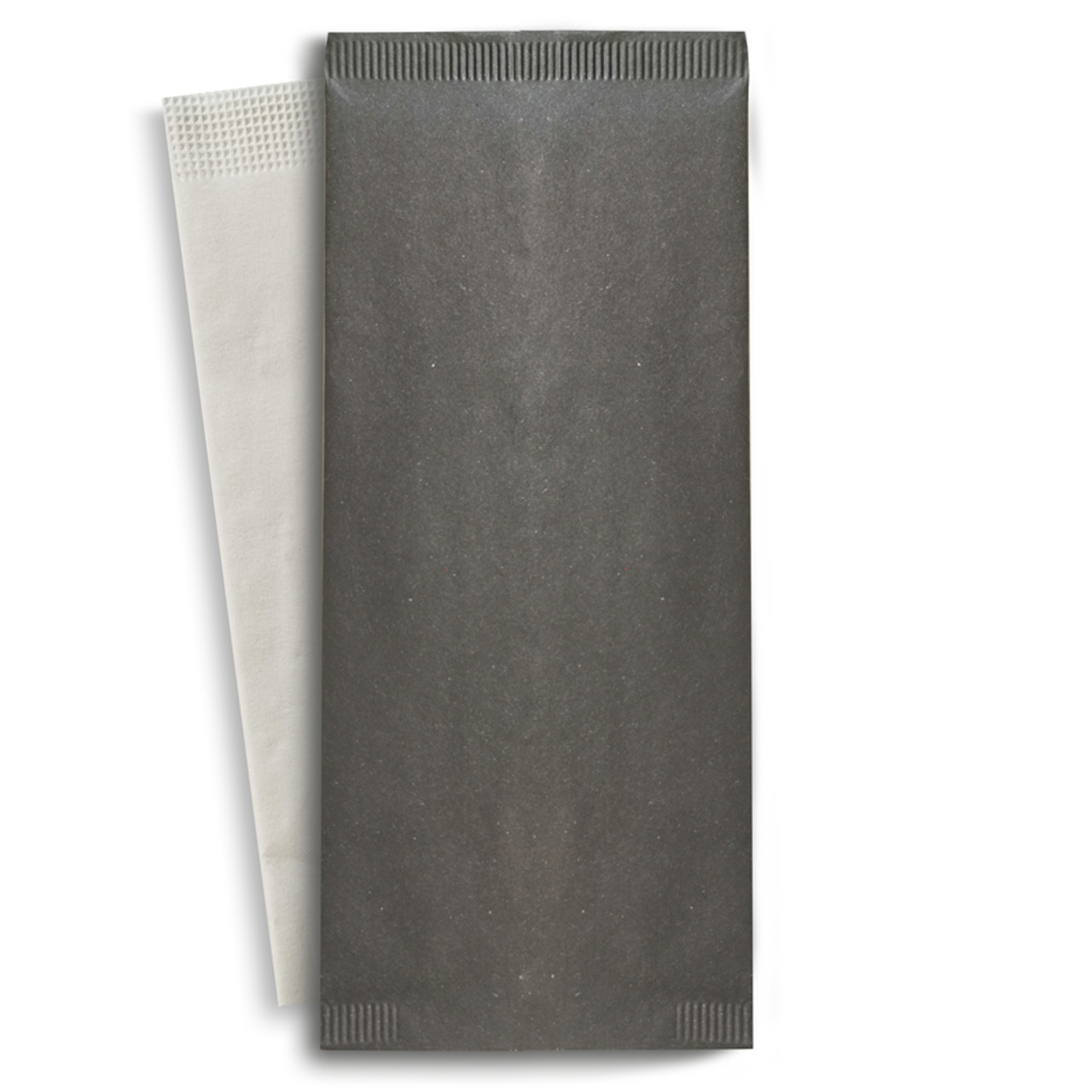 Black Cutlery Paper Bag With White Napkin 2-Ply - L:15 x W:15.1in