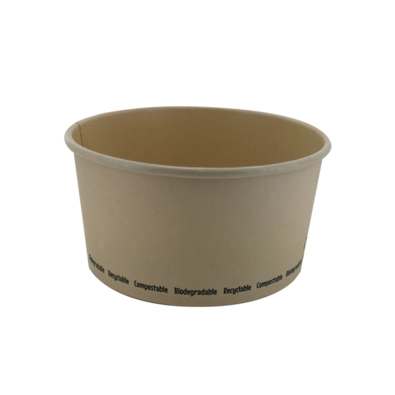 Compostable Round Bamboo Fiber Buckaty Salad Box -34oz Dia:5.85in H:3.05in
