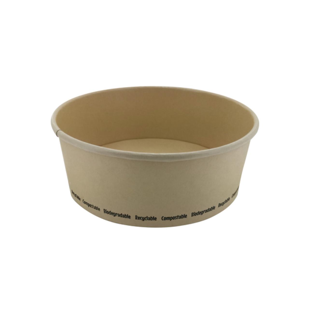 Compostable Round Bamboo Fiber Buckaty Salad Box -25oz Dia:5.85in H:2.38in
