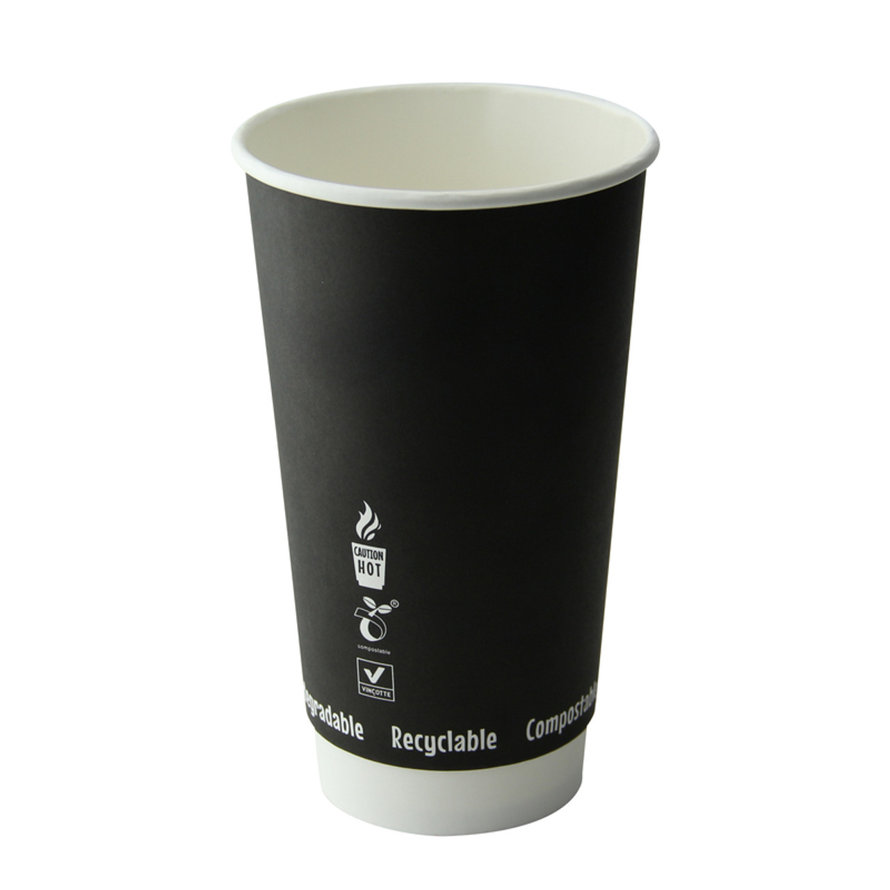 Double Wall Black Compostable Paper Cup -20oz Dia:3.55in H:5.9in