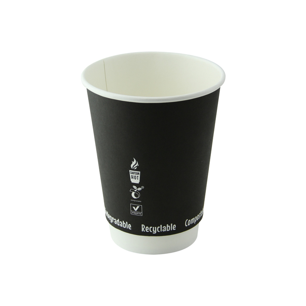 Double Wall Black Compostable Paper Cup -12oz Dia:3.4in H:4.4in