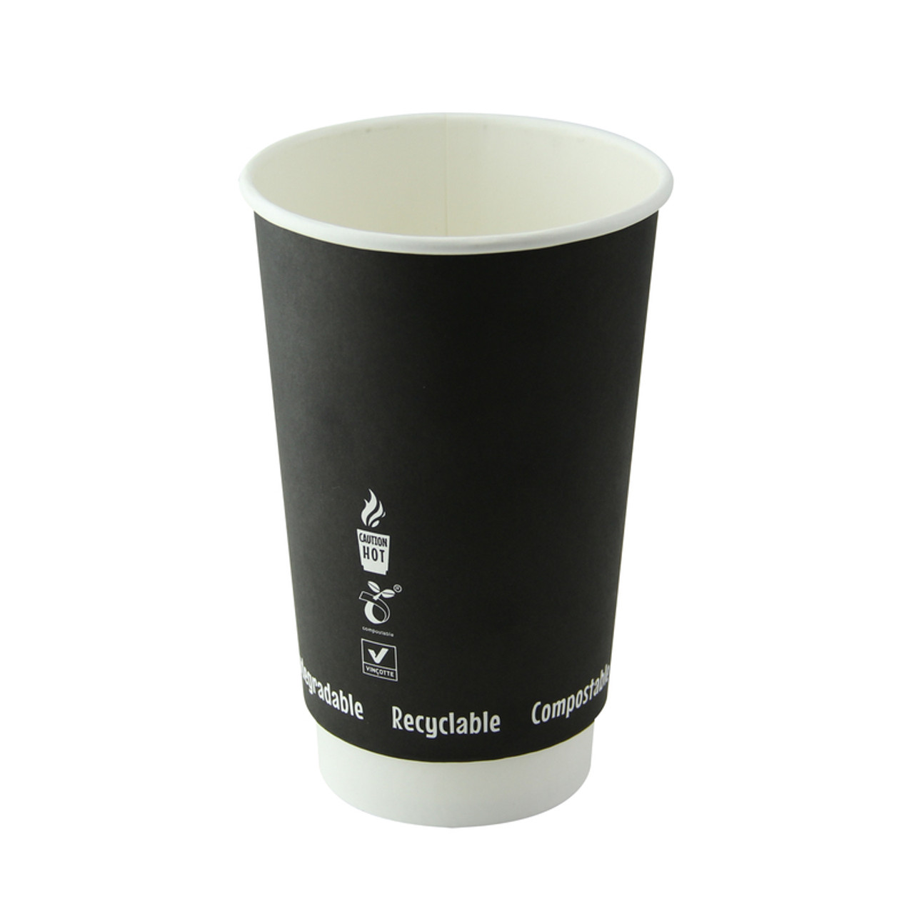 Double Wall Black Compostable Paper Cup -16oz Dia:3.5in H:5.35in