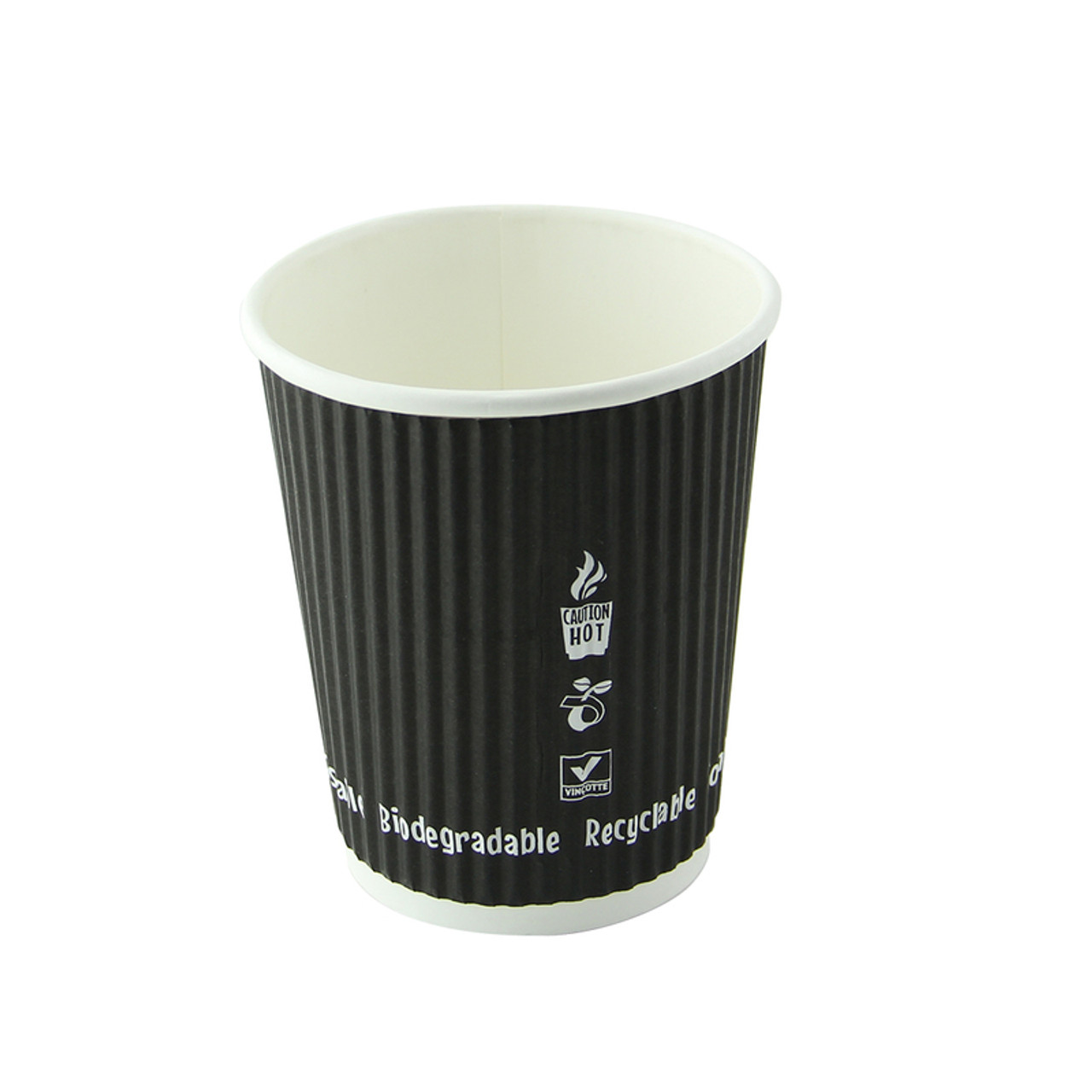 Compostable Rippled Black Cup -8oz Dia:3.1in H:3.6in