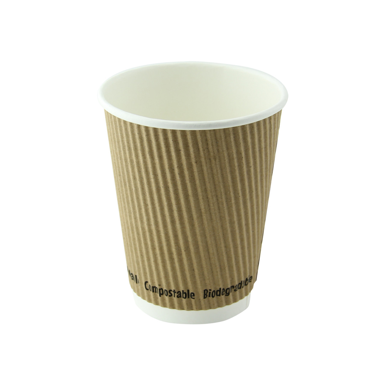 Compostable Rippled Kraft Cup -12oz Dia:3.5in H:4.25in