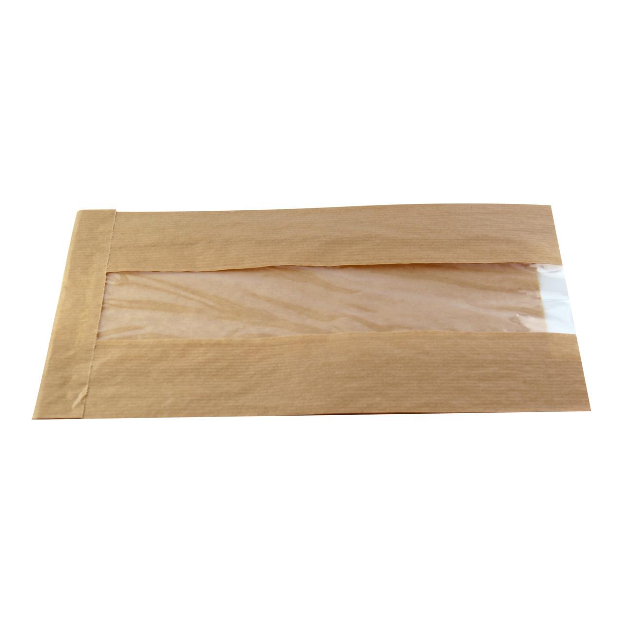Brown Kraft Bag With Window - L:8.85 x W:4.7 x H:1.6in