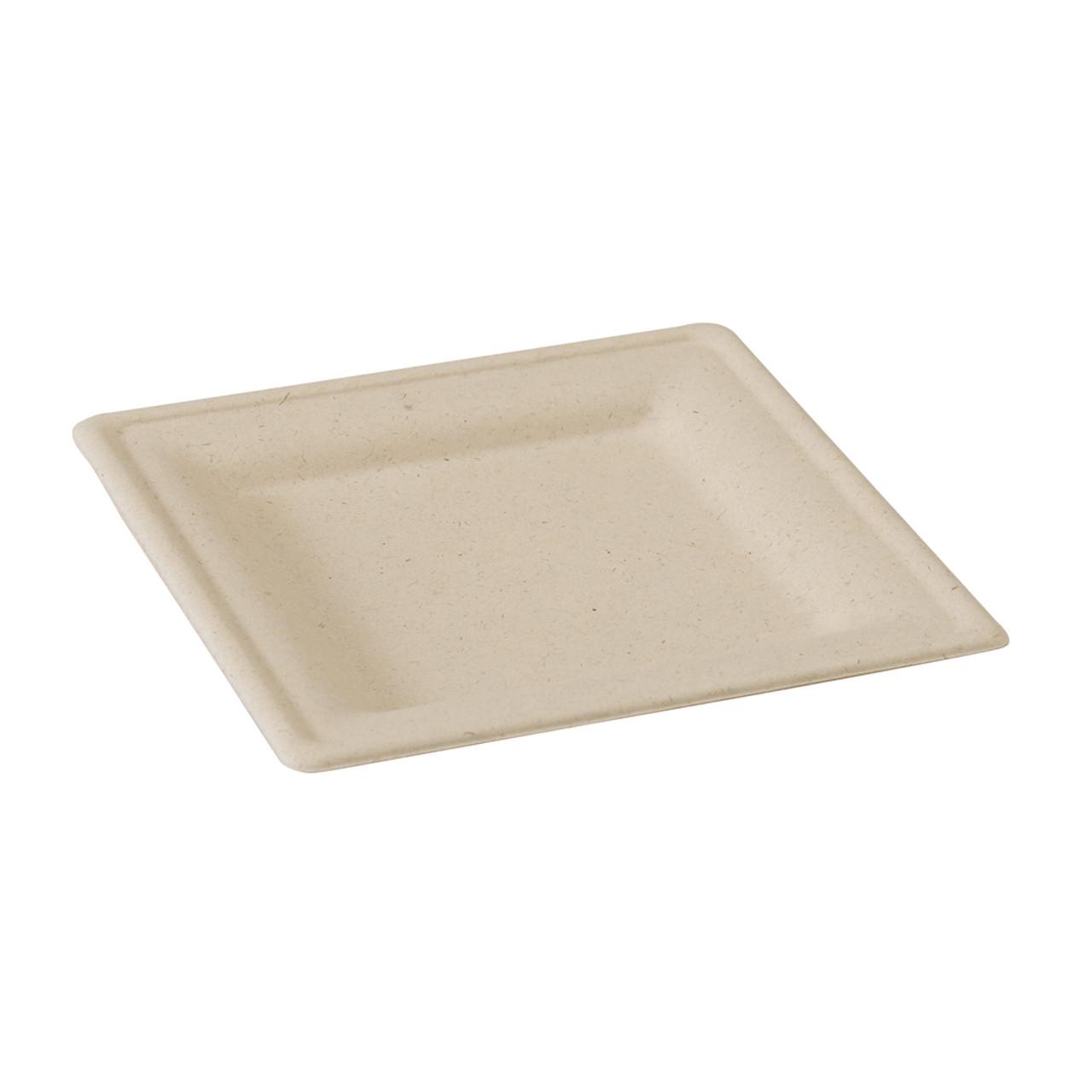 Square Brown Sugarcane Plate - L:7.8 x W:7.8 x H:.6in