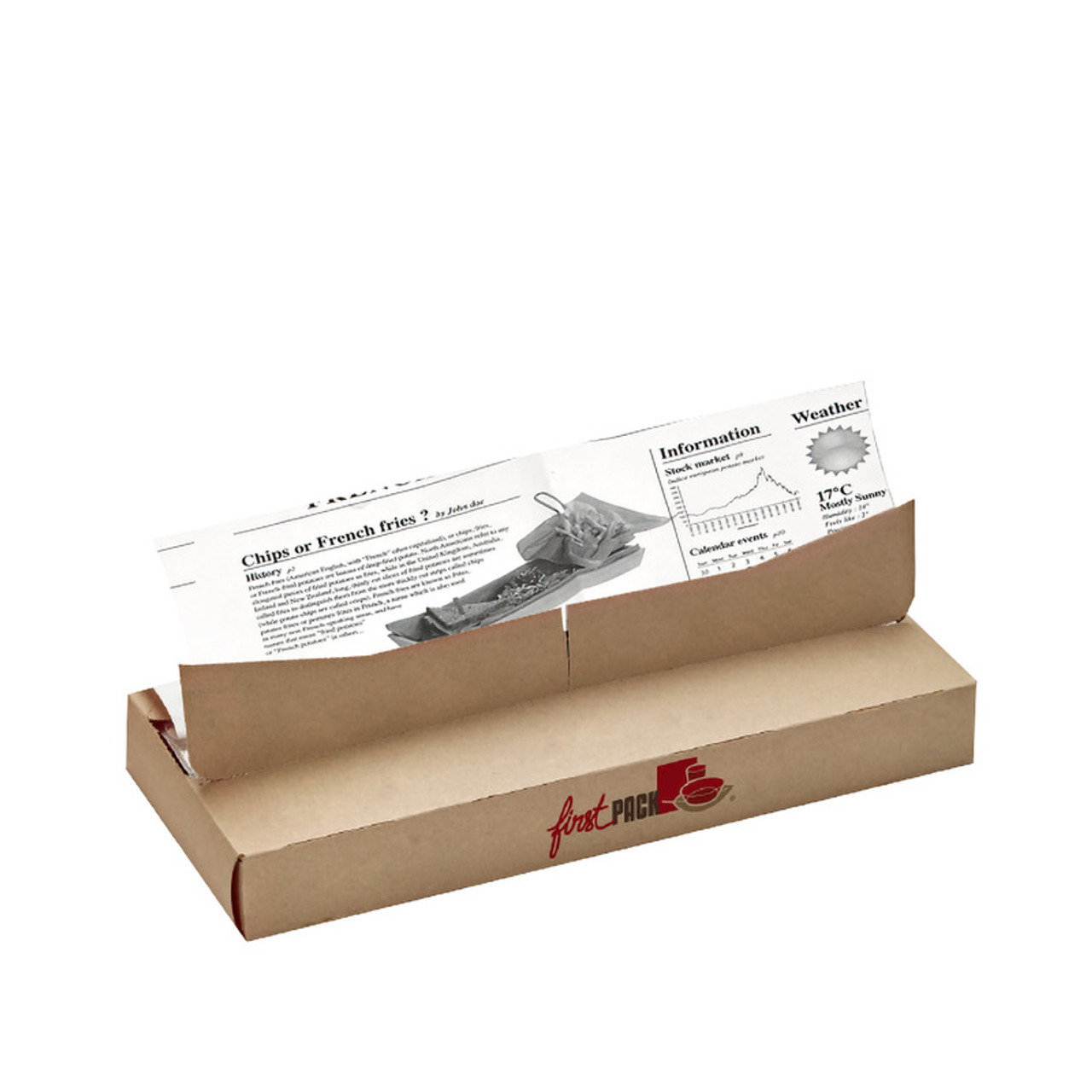 Greaseproof White Paper With Newsprint Design In Dispenser Box - W:10.63in L:17.8in