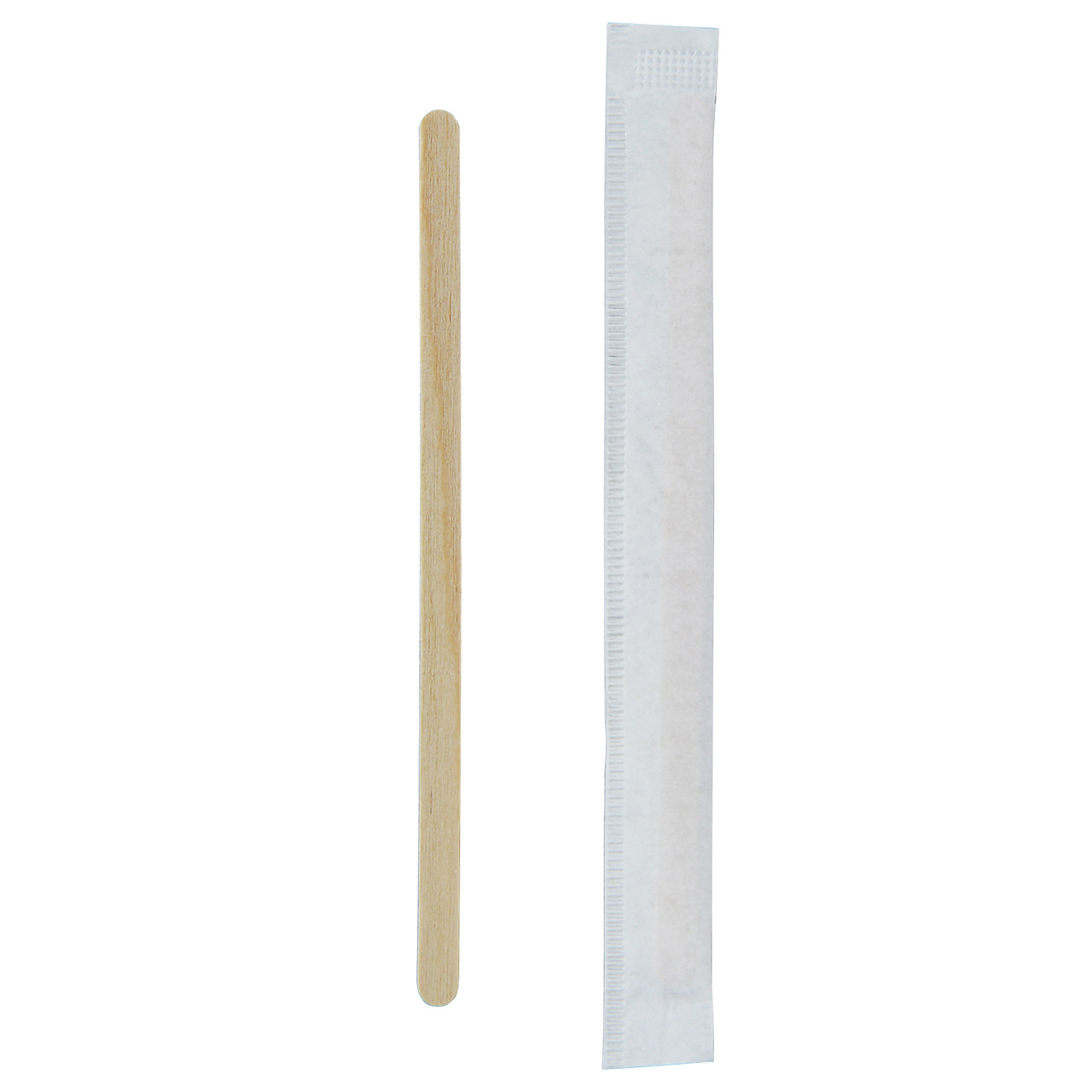 Individually Wrapped Wooden Coffee Stirrers - L:4.32in x W:.2in