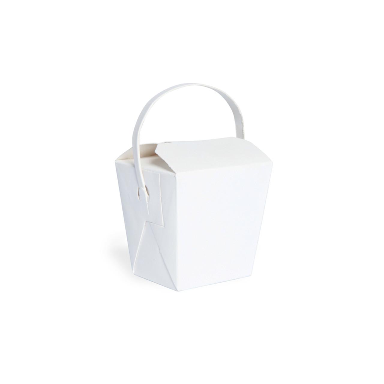 Mini White Take Out Box With Handle -8oz L:1.8 x W:2.2 x H:2.8 in.