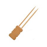 Mbola Double Prong Bamboo Skewer With Block End - L:5.95in
