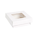 White Kray Boxes With Pet Window Lid -34oz L:5.5 x W:5.45 x H:2in