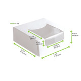 White Pastry Box With Pet Window - L:4 x W:4 x H:1.6in