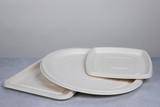 Square White Sugarcane Platter - L:11.8 x W:11.8 x H:1in