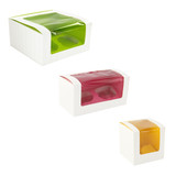 Yellow Cupcake Box With Window (1 Piece) - L:3.35 x W:3.35 x H:3.35in