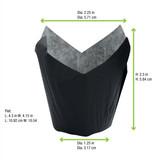 Tulip Black Baking Case -1.25oz Dia:2.25in Flat:L:4.3 x W:4.15in