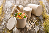 Brown Kraft Soup Cup With Kraft Lid Included -18oz Dia:3.75in H:4.5in