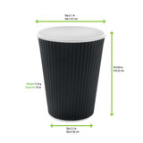 Rippled Black Cup -10oz Dia:3.1in H:3.63in