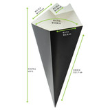 Black Paper Cones With Built In Dipping Sauce Compartment -14oz L:11 in