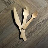 Wooden Cutlery 4 In 1 Kit (Knife + Fork + Spoon + Napkin) - L:8.2 x W:2.15in
