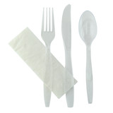 Majesty Cutlery Clear Kit 4 In 1 (Knife, Fork, Spoon, Napkin) - L:7.55 x W:1.77in
