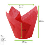 Tulip Red Silicone Baking Cup -4oz Dia:3.15in Flat:L:6.25 x W:6.2in