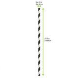 Durable Black & White Striped Paper Straws Wrapped - Dia:.23in L:7.75in