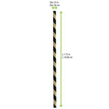 Durable Black And Kraft Paper Straws Unwrapped - L:7.75in Dia:.23in