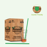Durable Solid Green Paper Straws Unwrapped - Dia:.23in L:7.75in