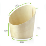 Slanted Wood Cup -9.5oz Dia:2.5in H:2.7in