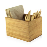 Bamboo Cutlery & Napkin Holder - L:6.3 x W:4.75 x H:4.15in