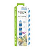 Durable Blue & White Striped Paper Straws Unwrapped - Dia:.23in L:7.75in
