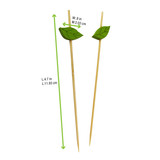 Bamboo Skewers With Wooden Leaf - L:4.7in