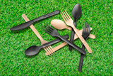 Compostable & Heat Proof Corn Bamboo Fiber Spoon - L:4.9in
