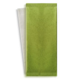 Green Cutlery Paper Bag With White Napkin 2-Ply - L:15 x W:15.1in