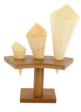 3 Holes Bamboo Cone And Temaki Display - L:6.25in x H:3.6in