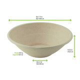 Round Brown Sugarcane Bowl -32oz Dia:7.75in H:2.6in