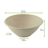 Round Brown Sugarcane Bowl -40oz Dia:7.75in H:3in