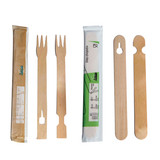 Beginners Wooden Fork Chopsticks Wrapped By Pair - L:7 x W:.6in