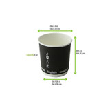 Double Wall Black Compostable Paper Cup -4oz Dia:2.4in H:2.5in