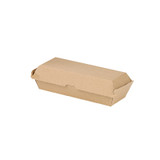 Kraft Corrugated Hot Dog Clamshell Take Out Box - L:8.25 x W:2.95 x H:2.6in