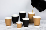 Compostable Rippled Black Cup -12oz Dia:3.5in H:4.3in