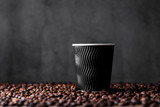Compostable Rippled Black Cup -16oz Dia:3.5in H:5.3in