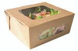 Easy Closing Kraft Compostable Salad Box With 2 Windows -37oz L:5.85 x W:5.35 x H:2.65in