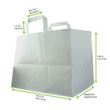 White Paper Carrier Bag - L:12.5 x W:8.9 x H:9.5in