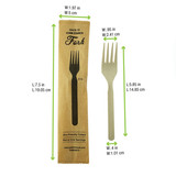 Compostable & Heat Proof Corn - Bamboo Fiber Fork Individually Wrapped In A Paper Wrapper - L:7.5 x W:1.97in