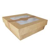 Kraft Kray Boxes With Pet Window Lid -34oz L:5.5 x W:5.45 x H:2in