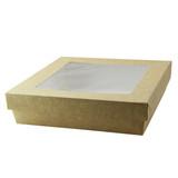 Kraft Kray Boxes With Pet Window Lid -60oz L:7.5 x W:7.5 x H:2in